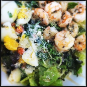 shrimp &  sunflower greens salad