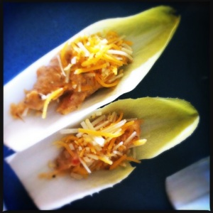 endive and spicy cheese dip