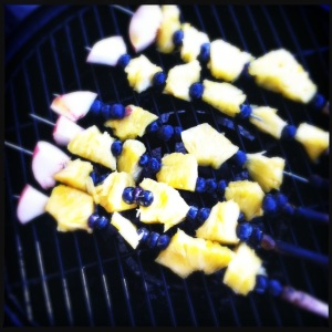 Grilled fruit skewers