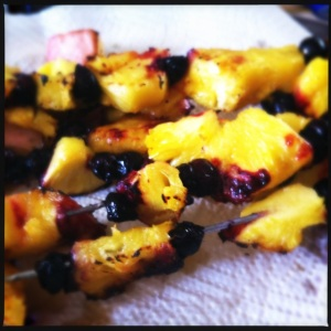Grilled pineapple and blueberry skewers