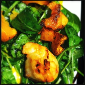 shrimp skewers with butternut squash