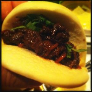 """spicy pork on bao bun """"Korean taco"""" at Saja"""