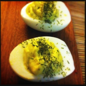 yogurt/lemon/dill deviled eggs
