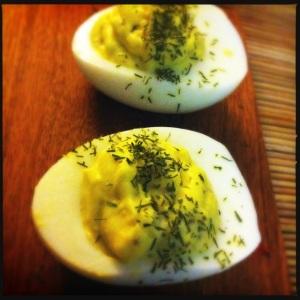 yogurt/lemon/dill deviled eggs
