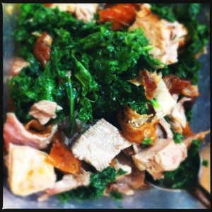 roast duck and salty kale