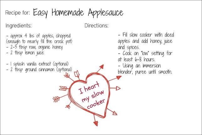 applesauce recipe card