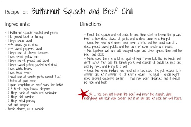 butternut squash chili recipe card