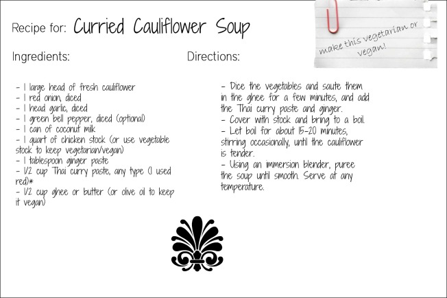 curry cauliflower soup recipe card