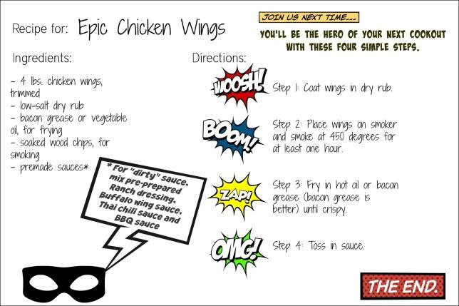 epic wings comic recipe card