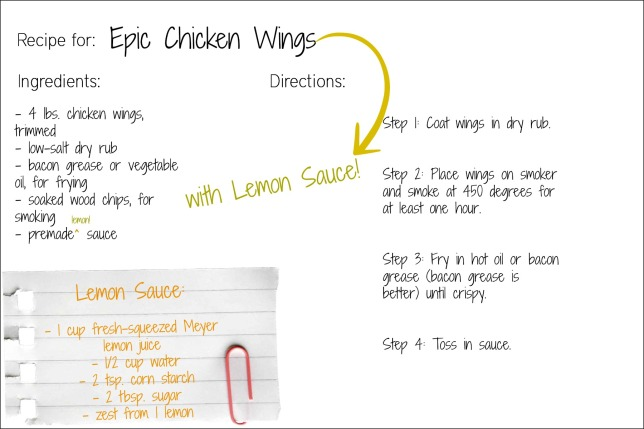 lemon epic wings recipe card