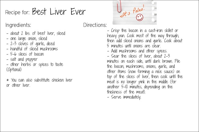 liver recipe card