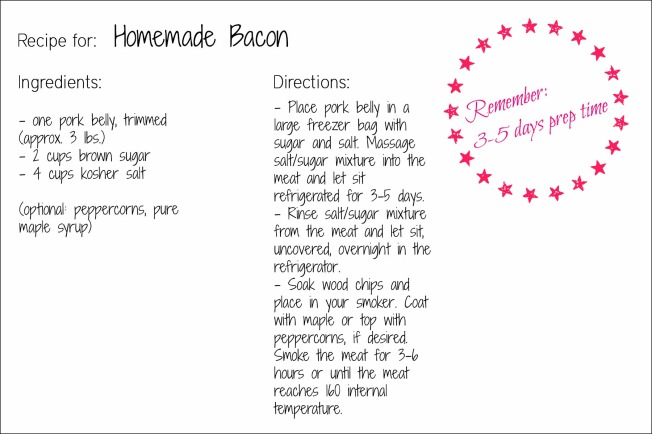 Bacon recipe card