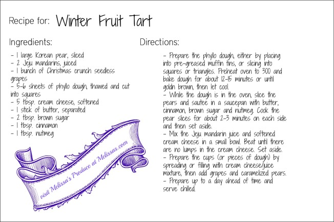winter fruit tart recipe card
