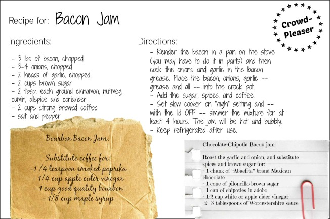 bacon jam recipe card