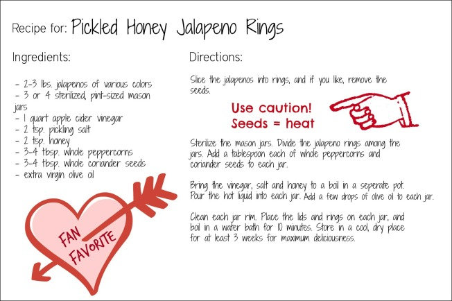 honey jalapeno rings recipe card