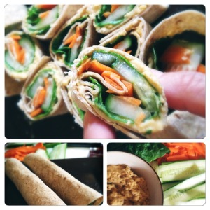 curried hummus and vegetable pinwheels