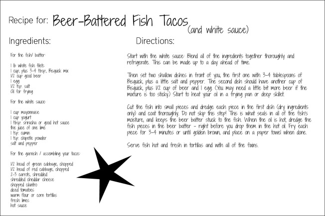 beer battered fish taco recipe card