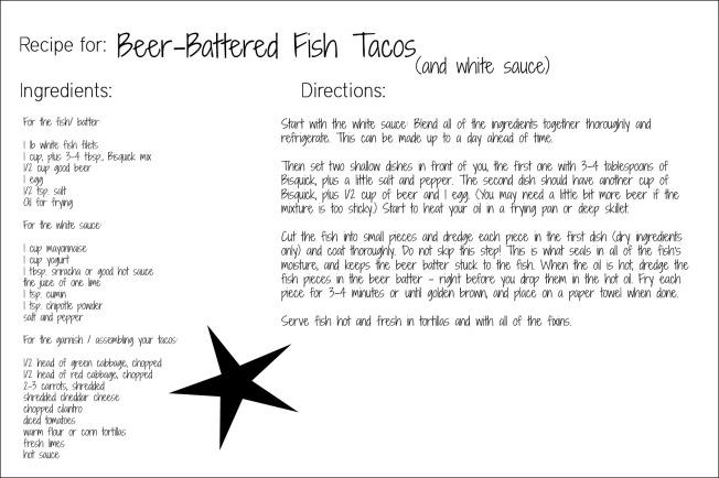 beer battered fish taco recipe card