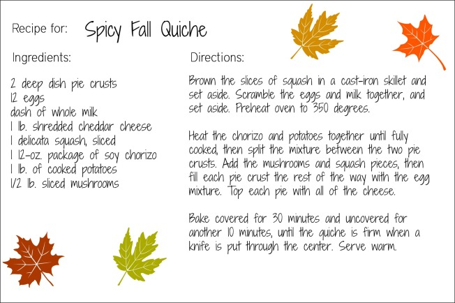 fall quiche recipe card