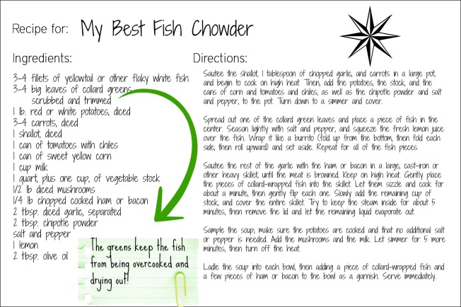 fish chowder recipe card