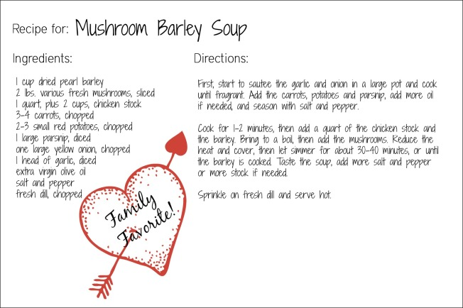 mushroom barley soup recipe card