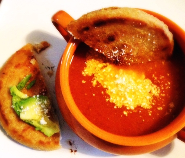 Spicy Roasted Tomato Soup with Pupusa Dippers